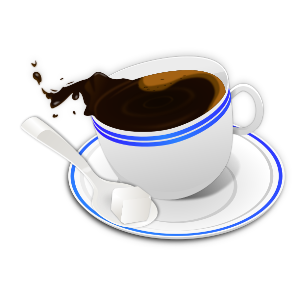 Vector drawing of tilted cup a coffee