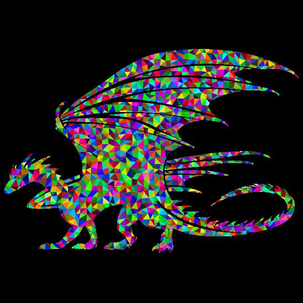 Dragon silhouette prismatic pattern