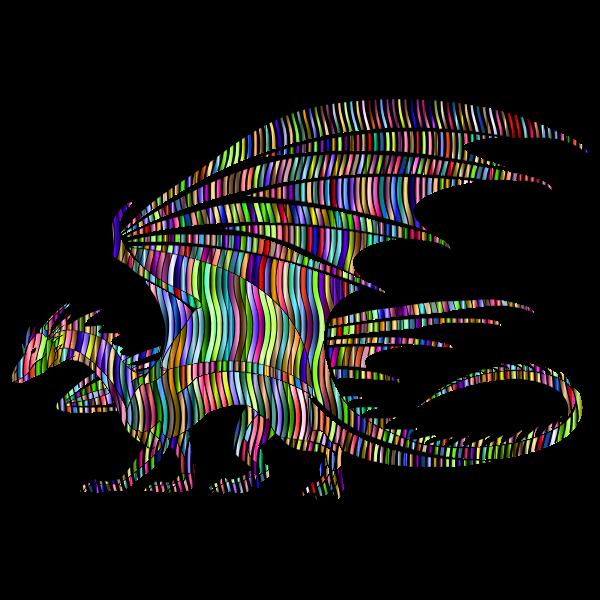 Wavy Prismatic Pattern Dragon Silhouette