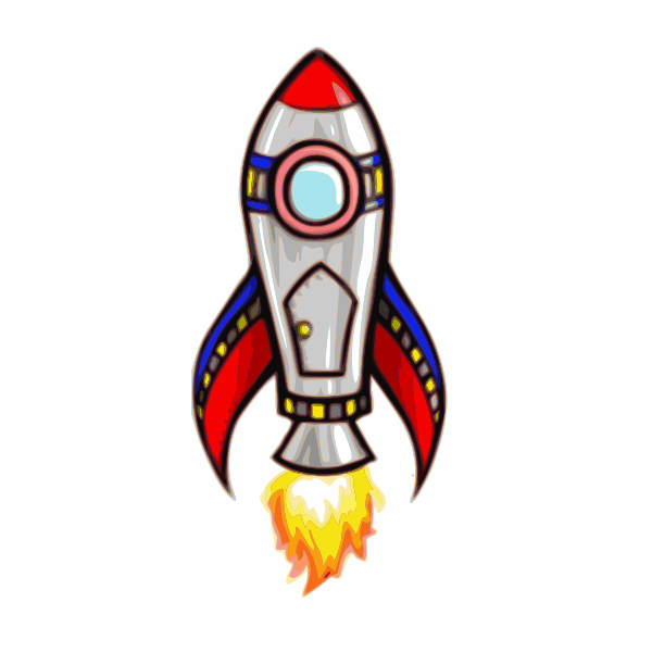 Shiny comic rocket vector image