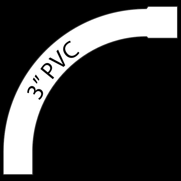 "90 Degree 3"" PVC Right"