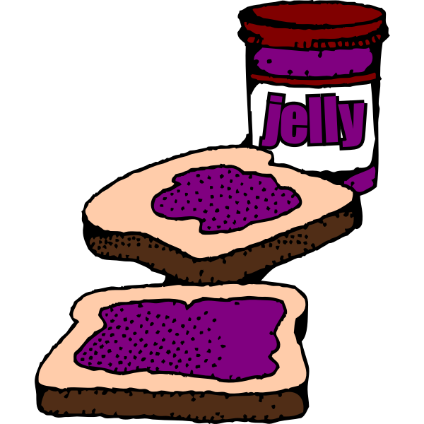 Colorized Peanut butter and jelly sandwich with label