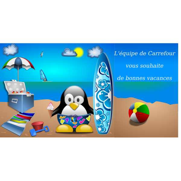 Tux on summer vacation vector illustration