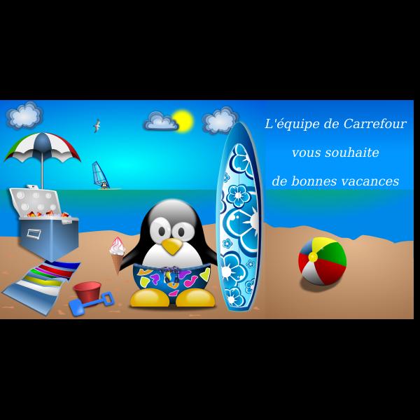 Tux on summer vacation vector illustration