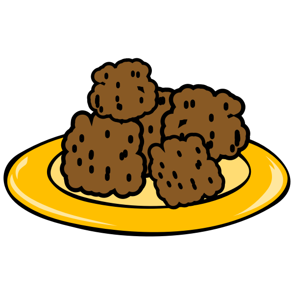 Vector illustration of meatballs on a plate hand-drawn