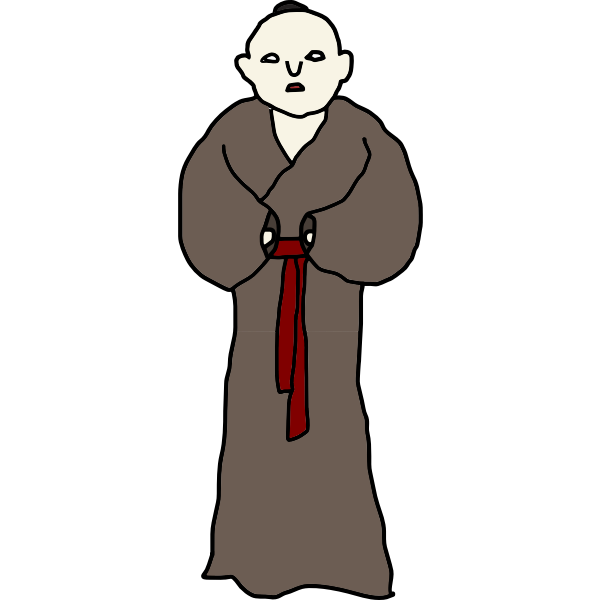 Asian monk vector drawing