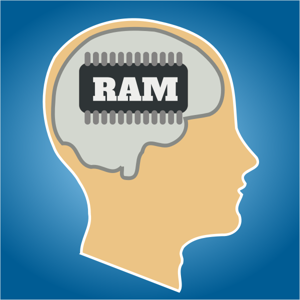 Vector illustration of human brain as RAM memory