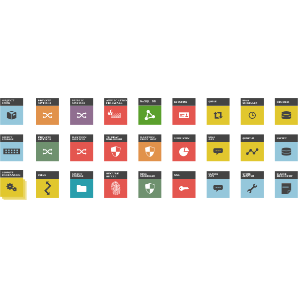 Vector image of cloud components