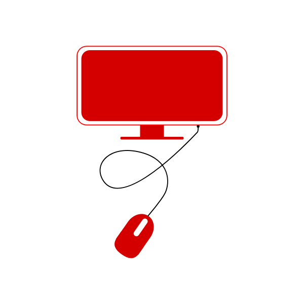Red modern computer icon vector clip art