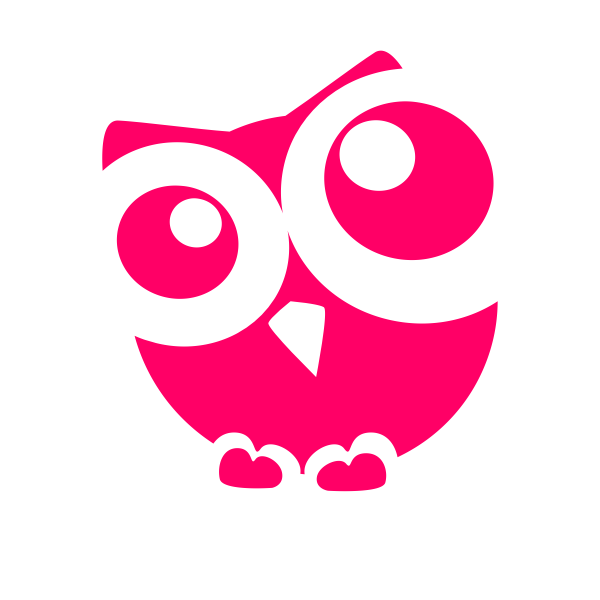 Red silhouette of an owl