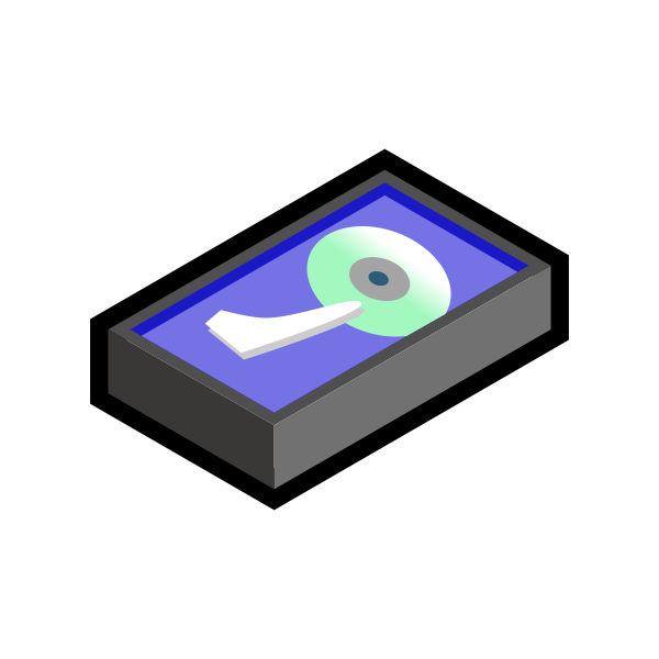Vector drawing  of grey 3D hard disk icon