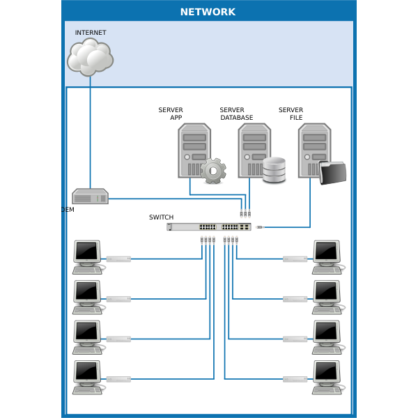 Vector drawing of computer network diagram with cloud