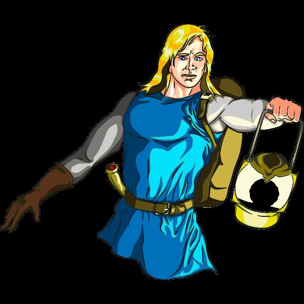 Blonde Male Medieval Adventurer with Lantern - Highlights