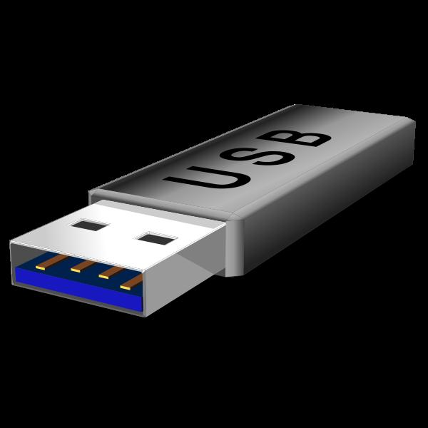 Vector clip art of grey USB flash stick