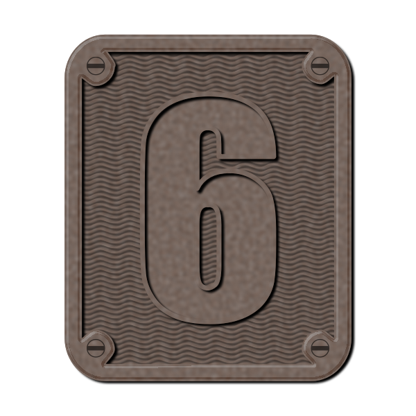 Metal number six vector image