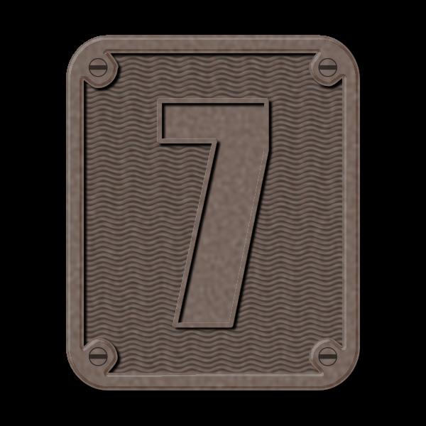 Metal number seven color illustration