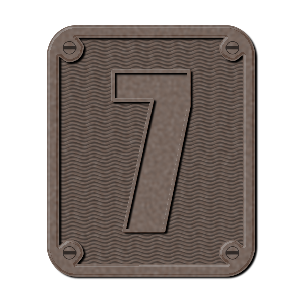Metal number seven color illustration