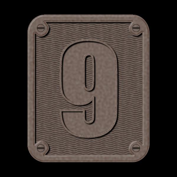 Metal number nine clip art