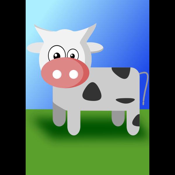 Vector illustration of cute cartoon cow