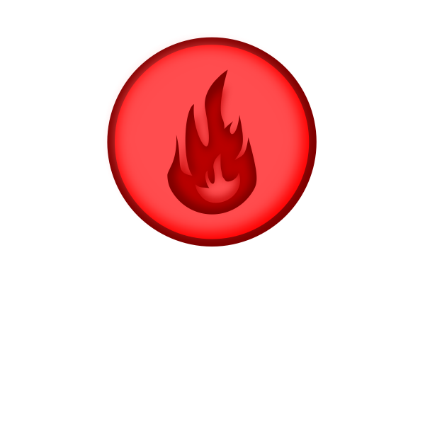 Vector image of round red fire sign