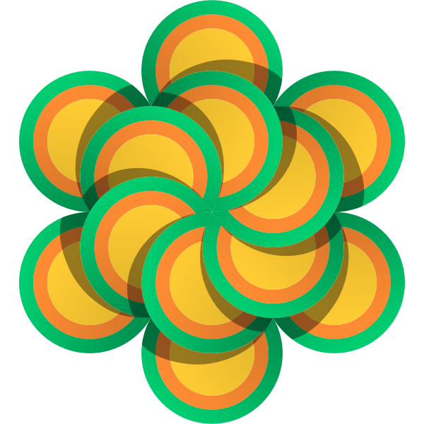 Vector drawing of flower made of multicolor circles