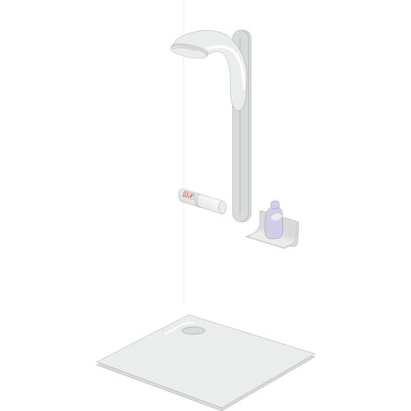 Fixed shower cabin with vector image