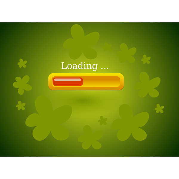 Vector illustration of green flowers game loader screen