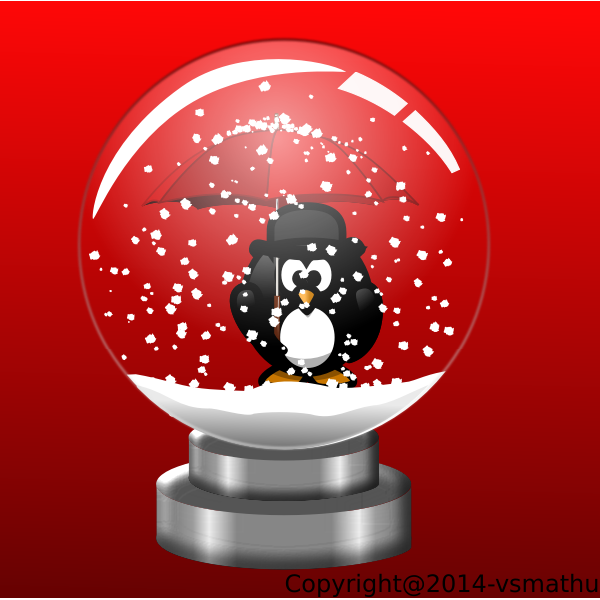 Penguin in snow globe on red background vector drawing