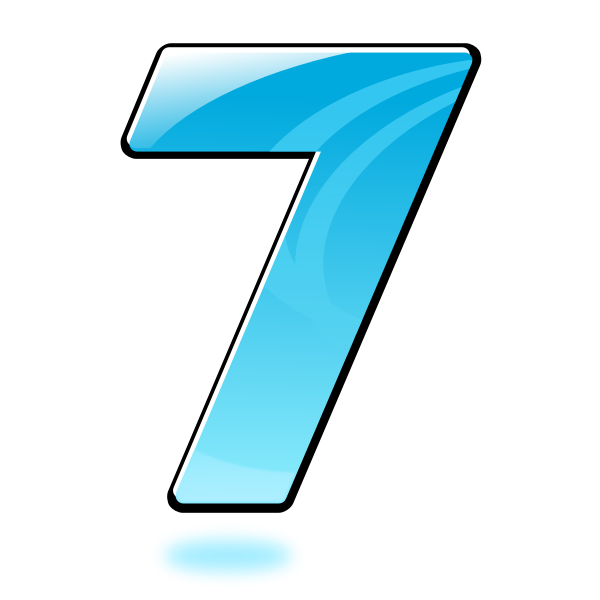 Vector graphics of glossy number seven