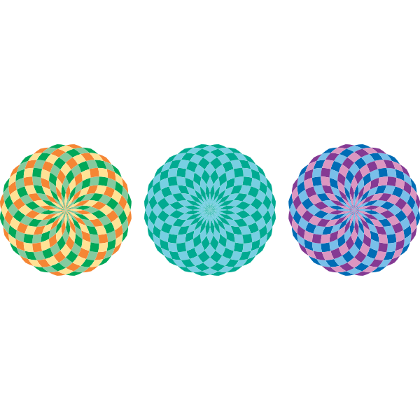Three colorful pattern circles vector illustration