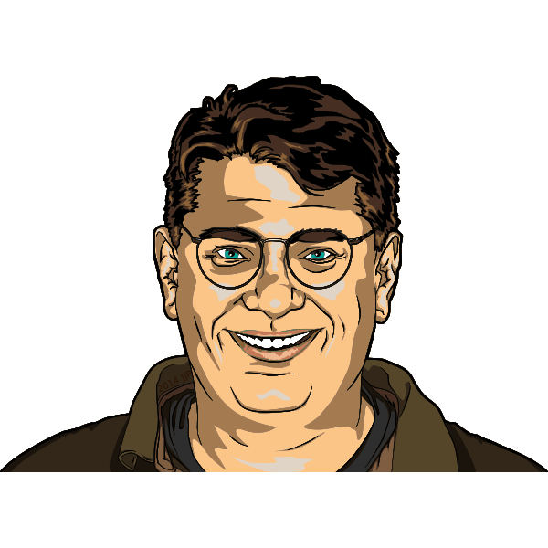 Friendly guy with glasses smiling vector image