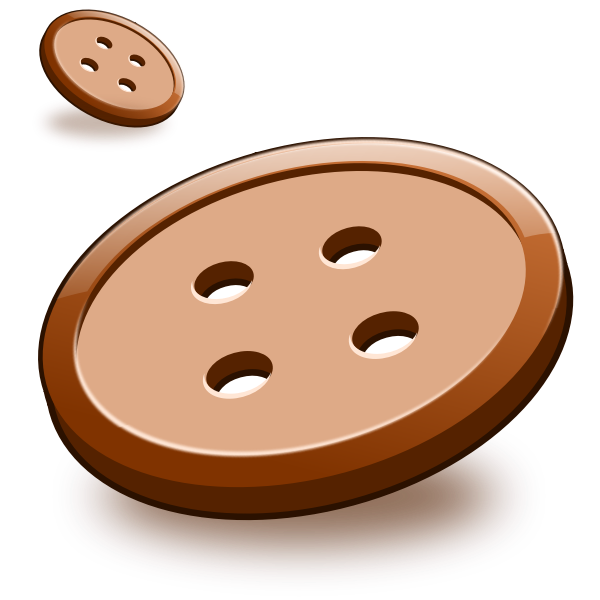 Vector image of two brown sewing buttons