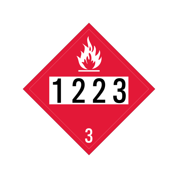 Square red sign with code for kerosene clip art