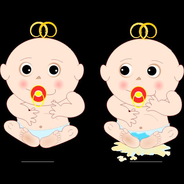 Cartoon twin babies