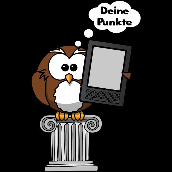 Vector clip art of owl holding an e-reader