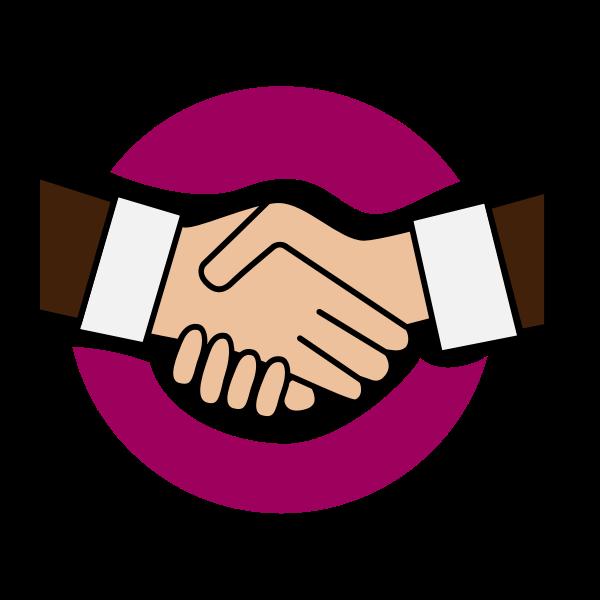 Vector image of purple colored handshake icon
