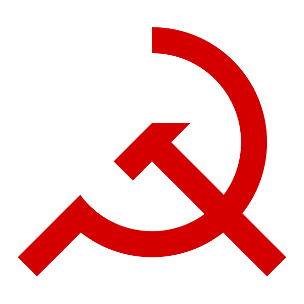 Vector illustration of tilted sickle and hammer red sign