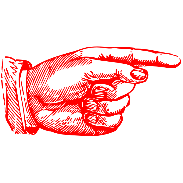 Pointing hand in red