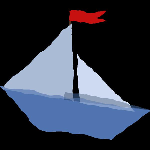 Crumpled paper boat