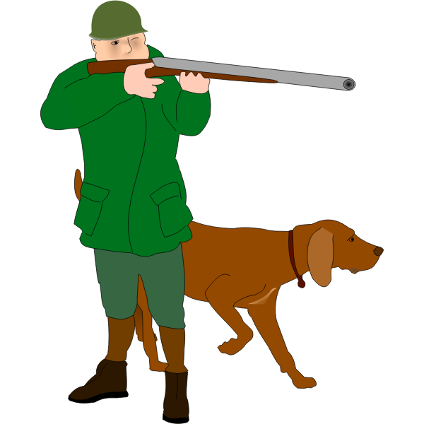 Hunter with scent hound dog vector illustration