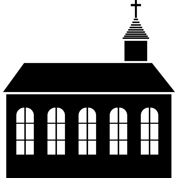 Vector drawing of small church silhouette