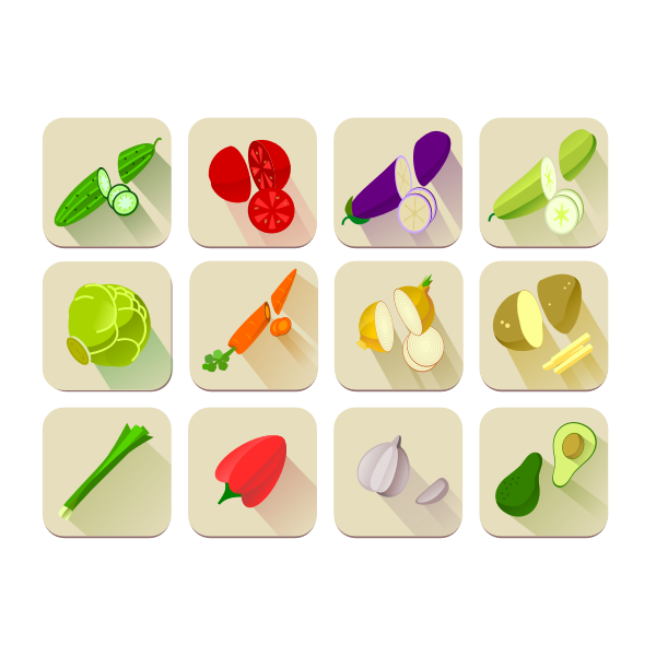 Vector graphics of a selection of vegetables