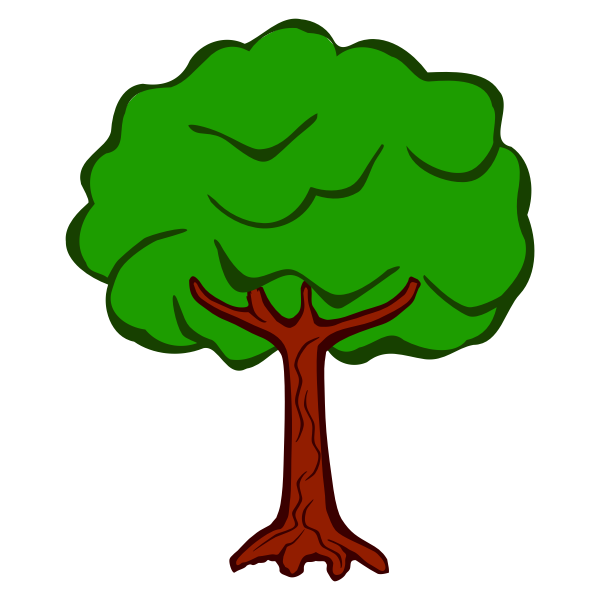 Lineart vector image of round tree top