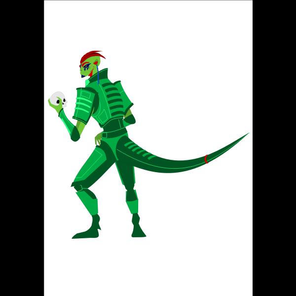 Alien cartoon reptile character vector clip art