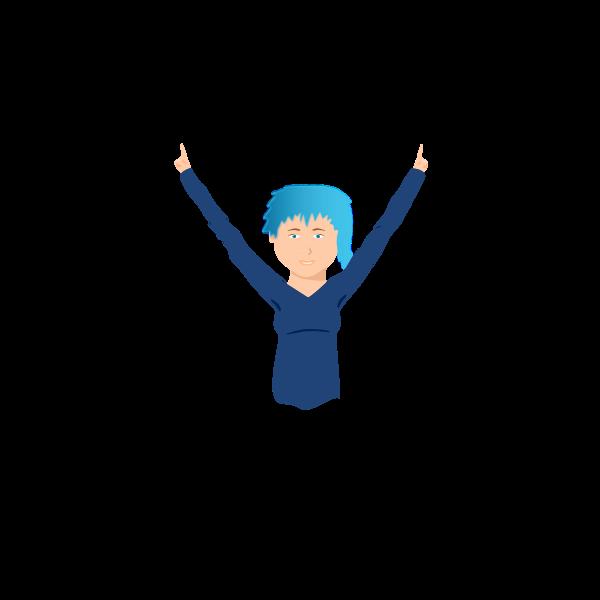 Blue-hair girl vector graphics