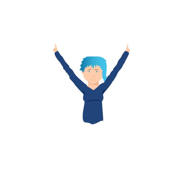 Blue-hair girl vector graphics