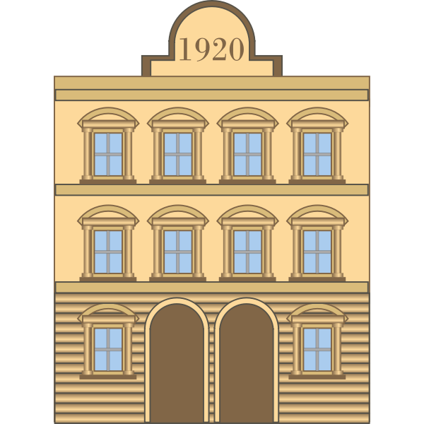 Vector graphics of 1920s neoclassical building