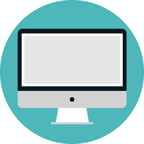 Desktop computer vector image with flat screen