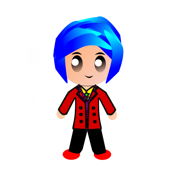 Kid with blue hair