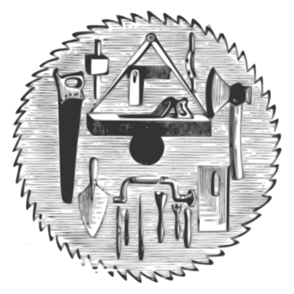 Vector image of circular saw with various hand-tools